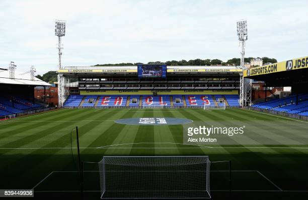 General view inside the stadium prior to the Premier League match between Watford and Brighton and Hove Albion at Vicarage Road on August 26 2017 in...