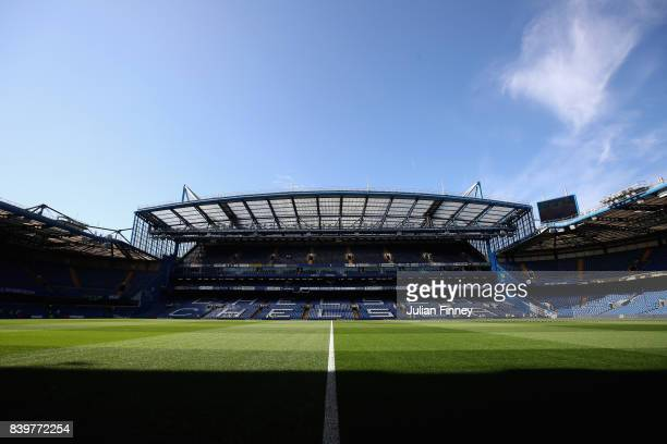 A general view inside the stadium prior to the Premier League match between Chelsea and Everton at Stamford Bridge on August 27 2017 in London England