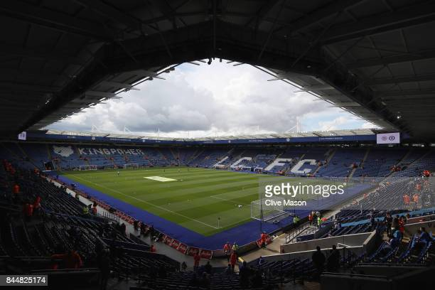 General view inside the stadium prior to the Premier League match between Leicester City and Chelsea at The King Power Stadium on September 9 2017 in...