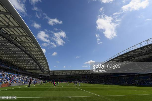 General view inside the stadium prior to the Premier League match between Brighton and Hove Albion and West Bromwich Albion at Amex Stadium on...