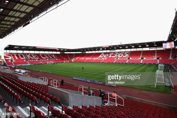 A general view inside the stadium prior to the Premier League match between Stoke City and Manchester United at Bet365 Stadium on September 9 2017 in...