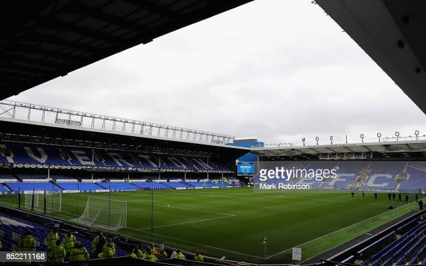 General view inside the stadium prior to the Premier League match between Everton and AFC Bournemouth at Goodison Park on September 23 2017 in...