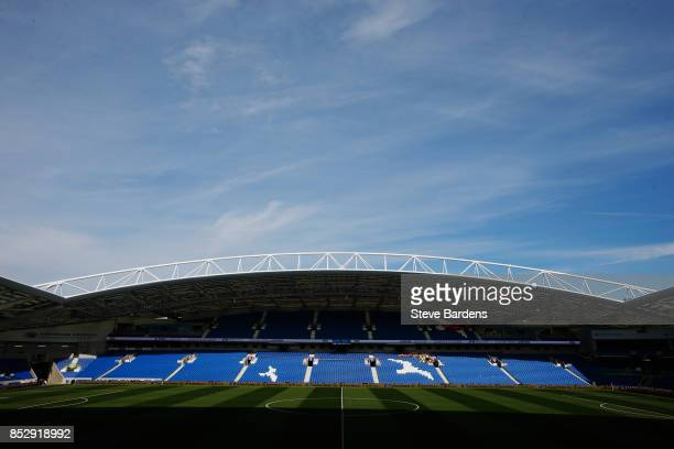 A general view inside the stadium prior to the Premier League match between Brighton and Hove Albion and Newcastle United at Amex Stadium on...