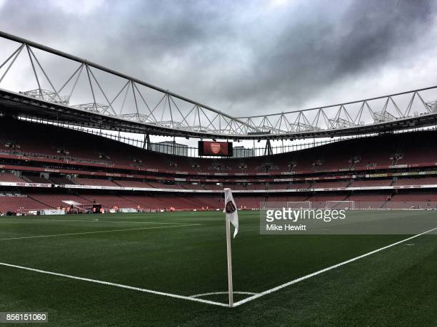 General view inside the stadium prior to the Premier League match between Arsenal and Brighton and Hove Albion at Emirates Stadium on October 1 2017...