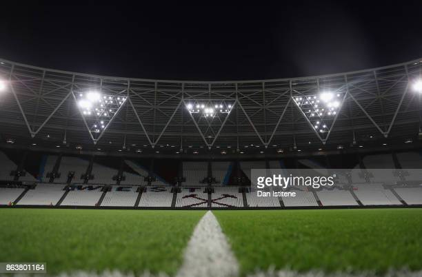 A general view inside the stadium prior to the Premier League match between West Ham United and Brighton and Hove Albion at London Stadium on October...