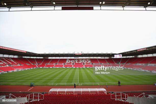 A general view inside the stadium prior to the Premier League match between Stoke City and AFC Bournemouth at Bet365 Stadium on October 21 2017 in...