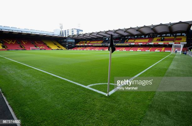 General view inside the stadium prior to the Premier League match between Watford and Stoke City at Vicarage Road on October 28 2017 in Watford...