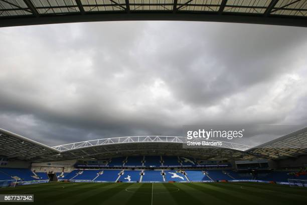 A general view inside the stadium prior to the Premier League match between Brighton and Hove Albion and Southampton at Amex Stadium on October 29...