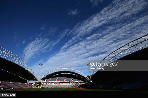 A general view inside the stadium prior to the Premier League match between Huddersfield Town and West Bromwich Albion at John Smith's Stadium on...