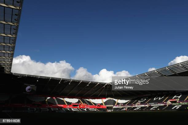 General view inside the stadium prior to the Premier League match between Swansea City and AFC Bournemouth at Liberty Stadium on November 25 2017 in...