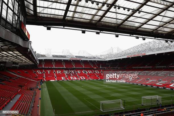 General view inside the stadium prior to the Premier League match between Manchester United and Manchester City at Old Trafford on December 10 2017...