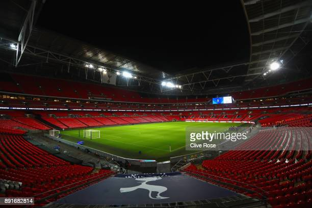 General view inside the stadium prior to the Premier League match between Tottenham Hotspur and Brighton and Hove Albion at Wembley Stadium on...