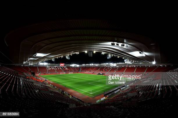 General view inside the stadium prior to the Premier League match between Southampton and Leicester City at St Mary's Stadium on December 13 2017 in...