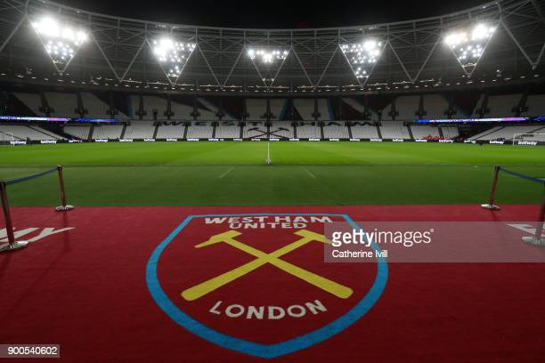 A general view inside the stadium prior to the Premier League match between West Ham United and West Bromwich Albion at London Stadium on January 2...