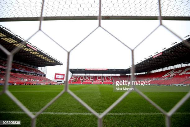 General view inside the stadium prior to the Premier League match between Stoke City and Huddersfield Town at Bet365 Stadium on January 20 2018 in...