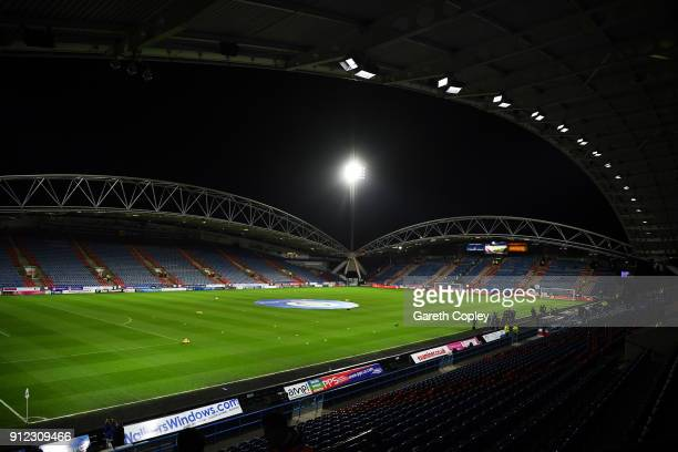 A general view inside the stadium prior to the Premier League match between Huddersfield Town and Liverpool at John Smith's Stadium on January 30...