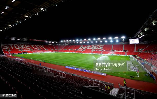 General view inside the stadium prior to the Premier League match between Stoke City and Watford at Bet365 Stadium on January 31 2018 in Stoke on...