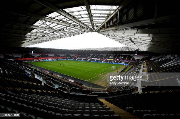 General view inside the stadium prior to the Premier League match between Swansea City and Burnley at Liberty Stadium on February 10 2018 in Swansea...