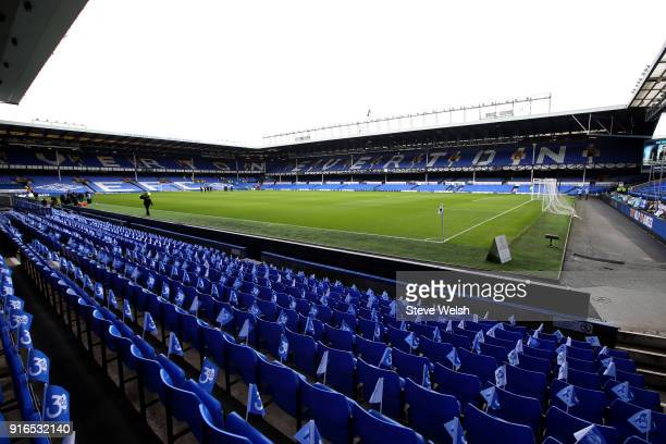 General view inside the stadium prior to the Premier League match between Everton and Crystal Palace at Goodison Park on February 10 2018 in...