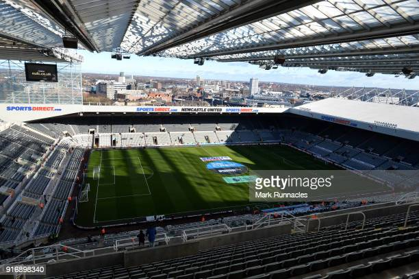 General view inside the stadium prior to the Premier League match between Newcastle United and Manchester United at St. James Park on February 11,...