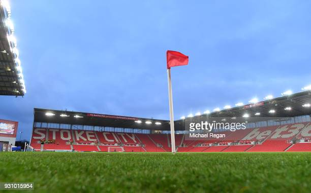 A general view inside the stadium prior to the Premier League match between Stoke City and Manchester City at Bet365 Stadium on March 12 2018 in...