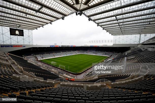 General view inside the stadium prior to the Premier League match between Newcastle United and Huddersfield Town at St. James Park on March 31, 2018...