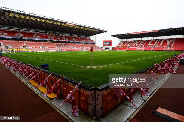 General view inside the stadium prior to the Premier League match between Stoke City and Tottenham Hotspur at Bet365 Stadium on April 7 2018 in Stoke...
