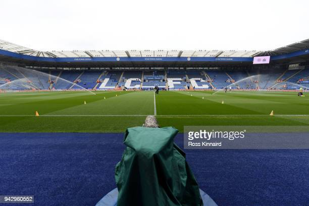 General view inside the stadium prior to the Premier League match between Leicester City and Newcastle United at The King Power Stadium on April 7...