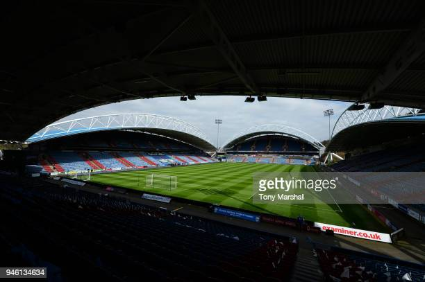 General view inside the stadium prior to the Premier League match between Huddersfield Town and Watford at John Smith's Stadium on April 14 2018 in...