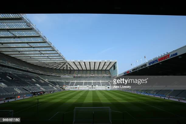 General view inside the stadium prior to the Premier League match between Newcastle United and Arsenal at St. James Park on April 15, 2018 in...