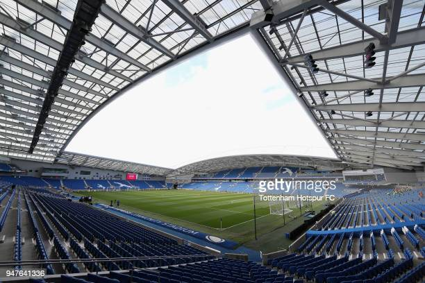 General view inside the stadium prior to the Premier League match between Brighton and Hove Albion and Tottenham Hotspur at Amex Stadium on April 17...