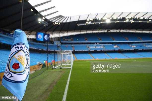 General view inside the stadium prior to the Premier League match between Manchester City and Swansea City at Etihad Stadium on April 22 2018 in...