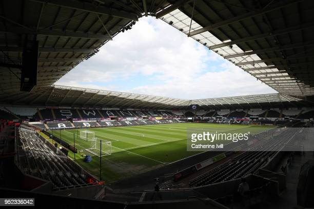 General view inside the stadium prior to the Premier League match between Swansea City and Chelsea at Liberty Stadium on April 28 2018 in Swansea...