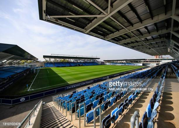 General view inside the stadium prior to the Second Leg of the UEFA Women's Champions League Quarter Final match between Manchester City and...