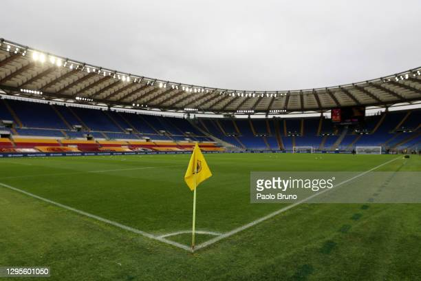 General view inside the stadium prior to the Serie A match between AS Roma and FC Internazionale at Stadio Olimpico on January 10, 2021 in Rome,...