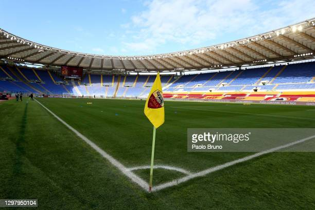 General view inside the stadium prior to the Serie A match between AS Roma and Spezia Calcio at Stadio Olimpico on January 23, 2021 in Rome, Italy....