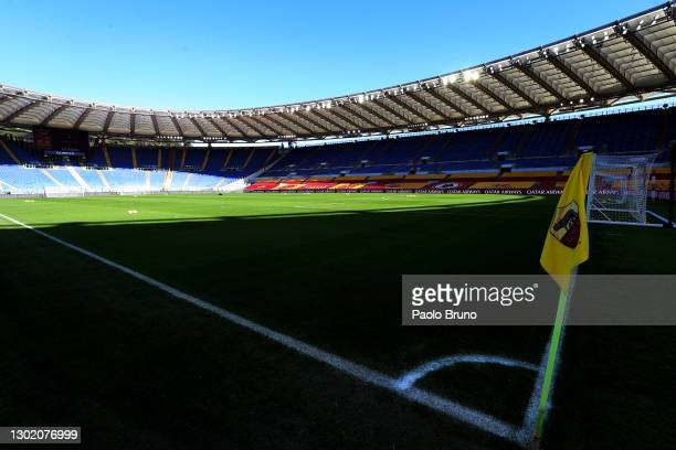 General view inside the stadium prior to the Serie A match between AS Roma and Udinese Calcio at Stadio Olimpico on February 14, 2021 in Rome, Italy....