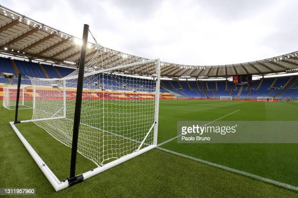 General view inside the stadium prior to the Serie A match between AS Roma and Bologna FC at Stadio Olimpico on April 11, 2021 in Rome, Italy....