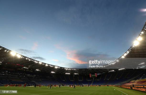 General view inside the stadium prior to the Serie A match between AS Roma and SS Lazio at Stadio Olimpico on May 15, 2021 in Rome, Italy. Sporting...