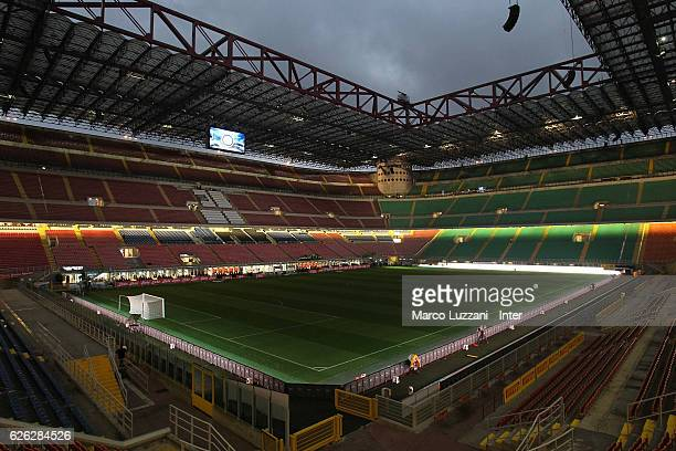 A general view inside the stadium prior to the Serie A match between FC Internazionale and ACF Fiorentina at Stadio Giuseppe Meazza on November 28...