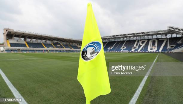General view inside the stadium prior to the Serie A match between Atalanta BC and US Lecce at Gewiss Stadium on October 6, 2019 in Bergamo, Italy.