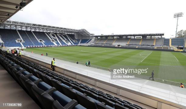 A general view inside the stadium prior to the Serie A match between Atalanta BC and US Lecce at Gewiss Stadium on October 6 2019 in Bergamo Italy