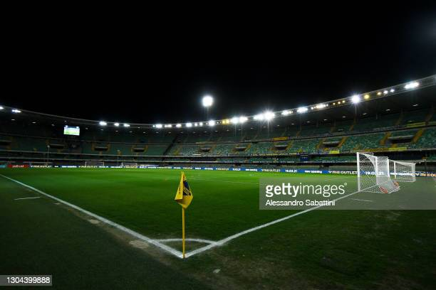General view inside the stadium prior to the Serie A match between Hellas Verona FC and Juventus at Stadio Marcantonio Bentegodi on February 27, 2021...