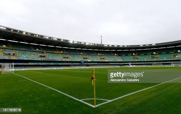 General view inside the stadium prior to the Serie A match between Hellas Verona FC and SS Lazio at Stadio Marcantonio Bentegodi on April 11, 2021 in...