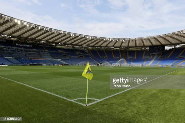 General view inside the stadium prior to the Serie A match between SS Lazio and Spezia Calcio at Stadio Olimpico on April 03, 2021 in Rome, Italy....