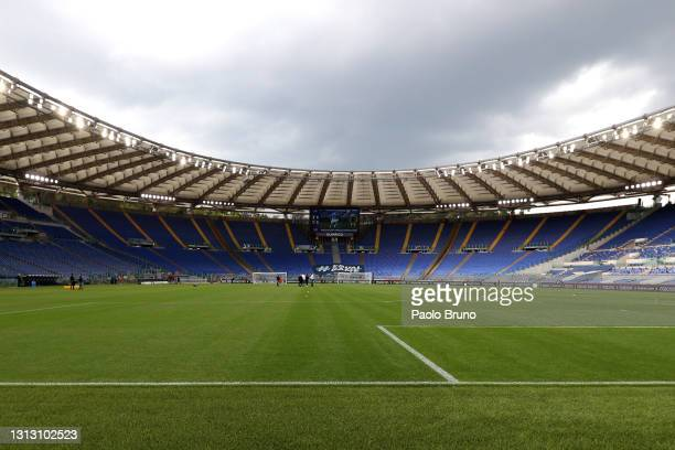 General view inside the stadium prior to the Serie A match between SS Lazio and Benevento Calcio at Stadio Olimpico on April 18, 2021 in Rome, Italy....