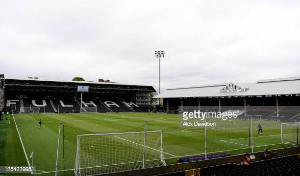 General view inside the stadium prior to the Sky Bet Championship match between Fulham and Birmingham City at Craven Cottage on July 04, 2020 in...