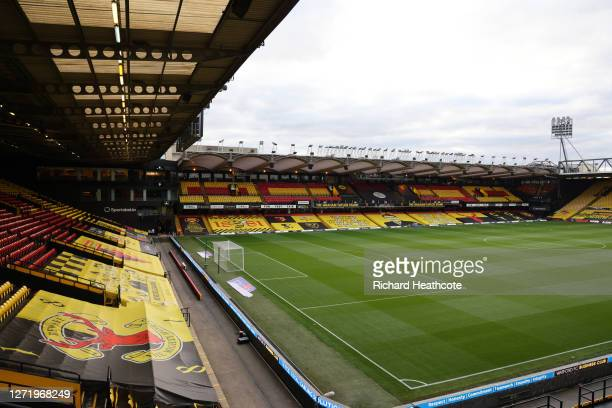 General view inside the stadium prior to the Sky Bet Championship match between Watford and Middlesbrough at Vicarage Road on September 11, 2020 in...
