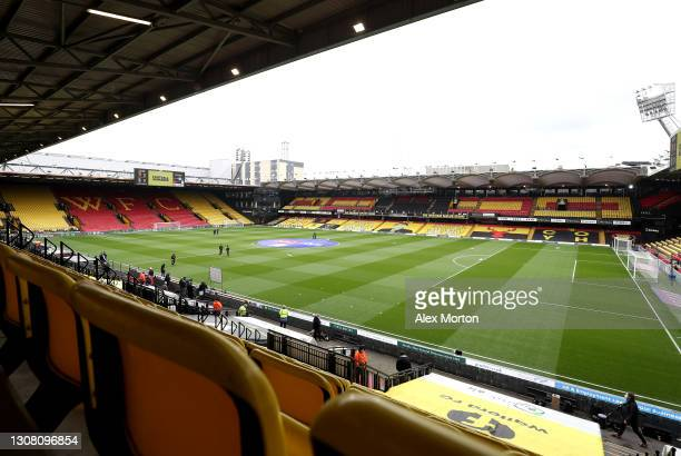 General view inside the stadium prior to the Sky Bet Championship match between Watford and Birmingham City at Vicarage Road on March 20, 2021 in...