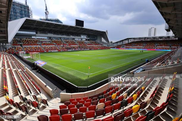 General view inside the stadium prior to the Sky Bet Championship match between Brentford and Watford at Brentford Community Stadium on May 01, 2021...